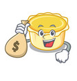 with money bag egg tart character cartoon vector image vector image