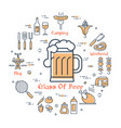 yellow round concept with glass of beer vector image vector image