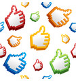 thumbs up sign computer cursor pattern background vector image