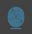 blue line fingerprint in black background vector image
