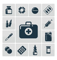 first aid kit silhouette icons set vector image