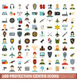 100 protection center icons set flat style vector image vector image