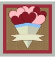 abstract paper bouquet hearts with banner vector image