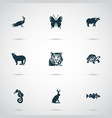 animal icons set with ox hare cod fish and other vector image