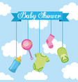 baby shower lettering hanging elements decoration vector image