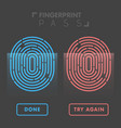 blue and red line fingerprint in black background vector image