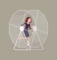businesswoman in a wheel vector image vector image