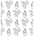 cactus flower background seamless pattern vector image vector image