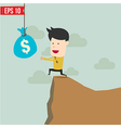Cartoon Business man trying to reach money - vector image