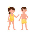 cheerful little boy and girl in swimming suits vector image vector image