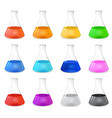 Chemical conical flask icon set vector image vector image