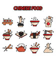 chinese food flat concept icons vector image vector image