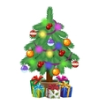 Christmas tree in pot with gifts Holiday symbol vector image vector image
