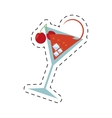 cocktail cherry alcohol ice straw dot line vector image vector image
