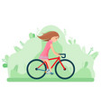 cycling woman on bike in spring park summer vector image vector image