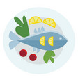 food platter with whole fish and vegetables or vector image vector image