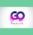 go g o purple letter logo design with liquid vector image vector image