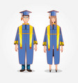 graduate couple avatar character vector image