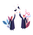 graduation ceremony of students wearing mantles vector image vector image