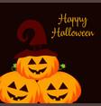 halloween pumpkins on dark vector image vector image