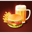 Hamburger And Beer Background vector image