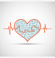 heart with a maze and line electrocardiogram vector image