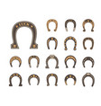 horseshoes good luck set metallic stylish retro vector image vector image