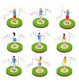 isometric golfers set vector image
