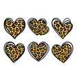 leopard prints hearts cheetah vector image