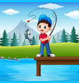 little boy fishing in the r vector image