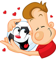 love football - sportsman hugging beloved ball vector image
