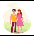 man and woman walk in park vector image