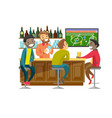 multiethnic people watching football at sport bar vector image vector image