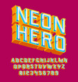 neon hero - 3d vintage letters with lights vector image vector image