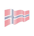 norway flag on white background wave strip vector image vector image