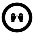 pair work of gloves icon black color in circle vector image vector image