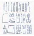 pen drawing office stationery linear icons vector image