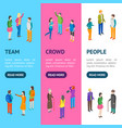 people characters banner vecrtical set isometric vector image vector image
