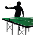 ping pong player silhouette ten vector image