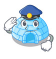 police character cartoon ice house in snowfield vector image vector image