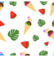 seamless pattern ice cream watermelon and palm vector image vector image