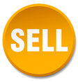 sell orange round flat isolated push button vector image vector image