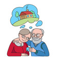 senior couple with credit card dreaming about vector image vector image