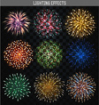 Set 9 realistic fireworks different shapes vector image