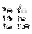 set car accident icon in silhouette style vector image vector image