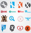 Set of alphabet symbols of letter X vector image vector image