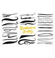 set of underline marker brush artistic lines vector image