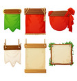 set wooden banners with decorative cloth flags vector image