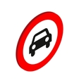 Sign with car icon isometric 3d style