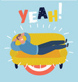 simple cartoon a businessman taking a nap on vector image vector image